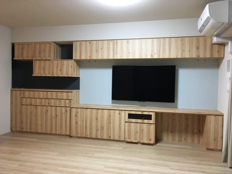 トール収納付きの食器棚&アイデア満載の壁面収納|施工事例|横浜市・港北区|マンション